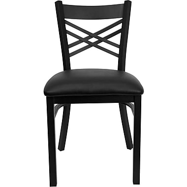 Flash Furniture HERCULES™ Vinyl X-Back Metal Restaurant Chair, Black, 24/Pack