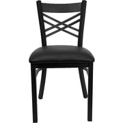 "Flash Furniture HERCULES Series Black ""X"" Back Metal Restaurant Chair, Black Vinyl Seat, 24/Pack"