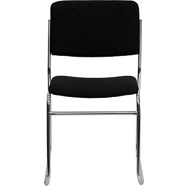 Flash Furniture HERCULES™ High Density Fabric Stacking Chair with Chrome Sled Base, Black