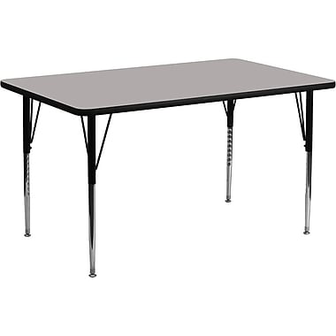 Flash Furniture 24''W x 60''L Rectangle Activity Table with 1.25'' High Pressure Top and Standard Height Adjustable Legs, Grey