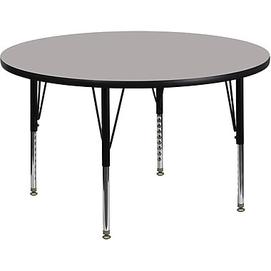Flash Furniture 48'' Round Activity Table with 1.25'' High Pressure Top and Height Adjustable Pre-School Legs, Grey