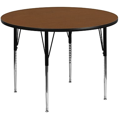 Flash Furniture 48'' Round Activity Table with 1.25'' Thick High Pressure Laminate Top and Standard Height Adjustable Legs, Oak