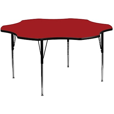 Flash Furniture 60'' Flower Shaped Activity Table with Thermal Fused Laminate Top and Standard Height Adjustable Legs, Red