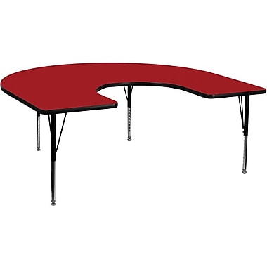 Flash Furniture 60''W x 66''L Horseshoe Activity Table with Thermal Fused Top and Height Adjustable Pre-School Legs, Red