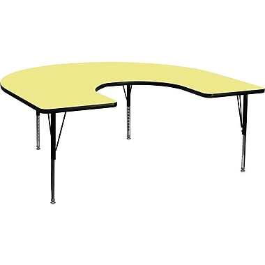 Flash Furniture 60''W x 66''L Horseshoe Activity Table with Thermal Fused Top and Height Adjustable Pre-School Legs, Yellow