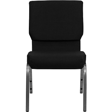 Flash Furniture HERCULES Series 18.5'' Wide Stacking Church Chair with 4.25'' Thick Seat - Silver Vein Frame, Black, 40/Pack