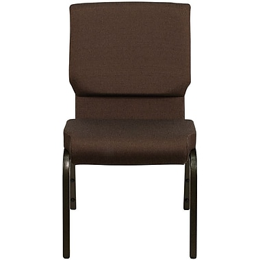 Flash Furniture HERCULES™ Fabric Stacking Church Chair, Brown, Gold Vein Frame, 40/Pack