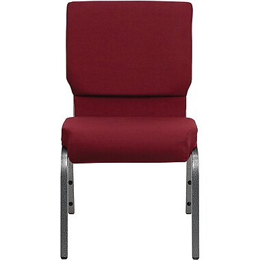 Flash Furniture HERCULES Series 18.5'' Wide Stacking Church Chair with 4.25'' Thick Seat - Silver Vein Frame, Burgundy, 40/Pack