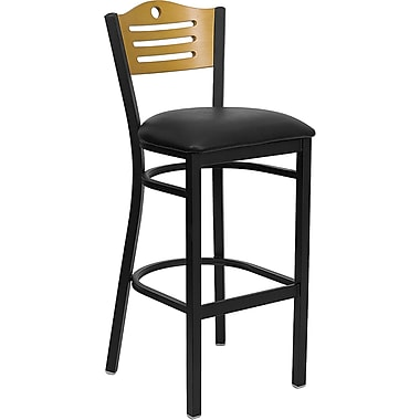 Flash Furniture HERCULES Series Black Slat Back Metal Restaurant Bar Stool, Natural Wood Back, Black Vinyl Seat