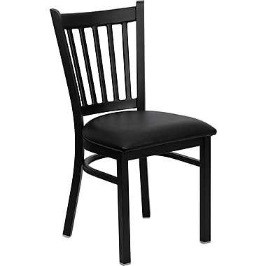 Flash Furniture HERCULES Series Black Vertical Back Metal Restaurant Chair, Black Vinyl Seat, 4/Pack