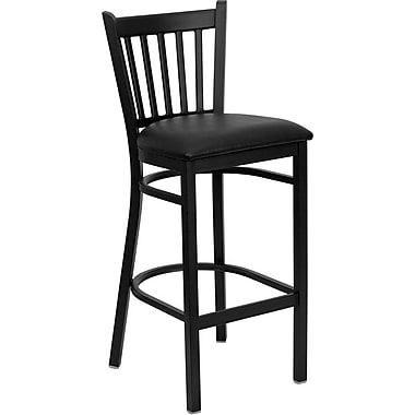 Flash Furniture HERCULES Series Black Vertical Back Metal Restaurant Bar Stool, Black Vinyl Seat