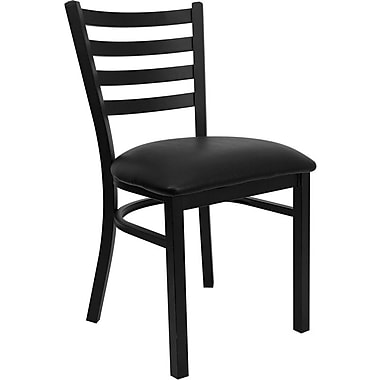 Flash Furniture HERCULES Series Black Ladder Back Metal Restaurant Chair, Black Vinyl Seat, 4/Pack