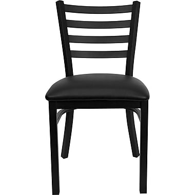 Flash Furniture HERCULES Series Black Ladder Back Metal Restaurant Chair, Black Vinyl Seat, 24/Pack