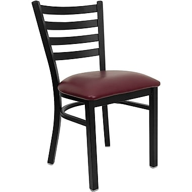 Flash Furniture HERCULES Series Black Ladder Back Metal Restaurant Chair, Burgundy Vinyl Seat, 4/Pack