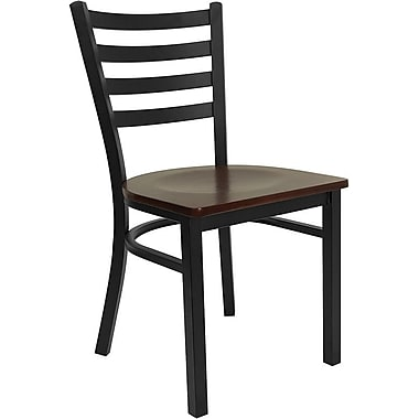 Flash Furniture HERCULES Series Black Ladder Back Metal Restaurant Chair, Mahogany Wood Seat, 4/Pack