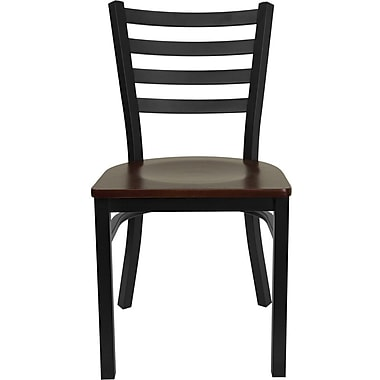 Flash Furniture HERCULES Series Black Ladder Back Metal Restaurant Chair, Mahogany Wood Seat, 24/Pack