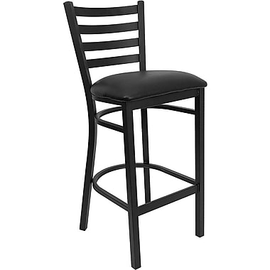 Flash Furniture HERCULES™ Vinyl Ladder Back Metal Restaurant Bar Stool, Black
