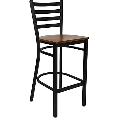 Flash Furniture HERCULES Series Black Ladder Back Metal Restaurant Bar Stool, Cherry Wood Seat