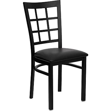 Flash Furniture HERCULES™ Vinyl Window Back Metal Restaurant Chair, Black, 4/Pack