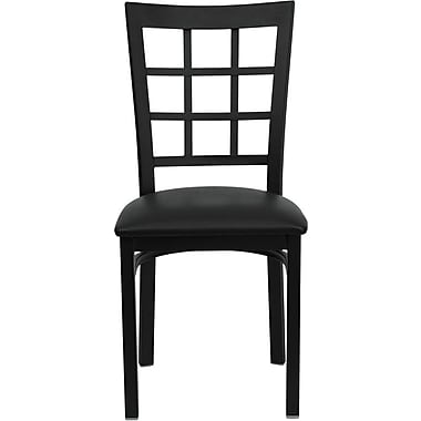 Flash Furniture HERCULES Series Black Window Back Metal Restaurant Chair, Black Vinyl Seat, 16/Pack