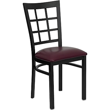 Flash Furniture HERCULES™ Vinyl Window Back Metal Restaurant Chair, Burgundy, 4/Pack