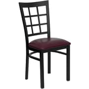 Flash Furniture HERCULES Series Black Window Back Metal Restaurant Chair, Burgundy Vinyl Seat, 4/Pack