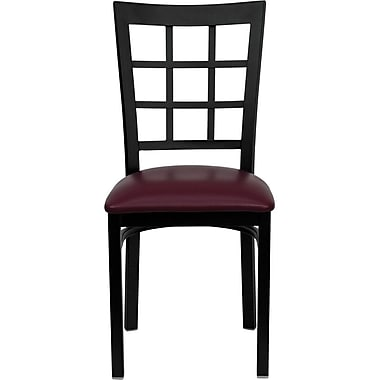 Flash Furniture HERCULES Series Black Window Back Metal Restaurant Chair, Burgundy Vinyl Seat, 16/Pack