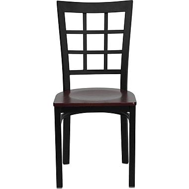 Flash Furniture HERCULES Series Black Window Back Metal Restaurant Chair, Mahogany Wood Seat, 16/Pack