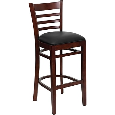 Flash Furniture HERCULES Series Mahogany Wood Ladder Back Restaurant Bar Stool, Black Vinyl Seat