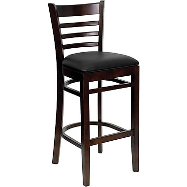 Flash Furniture HERCULES Series Walnut Wood Ladder Back Restaurant Bar Stool, Black Vinyl Seat