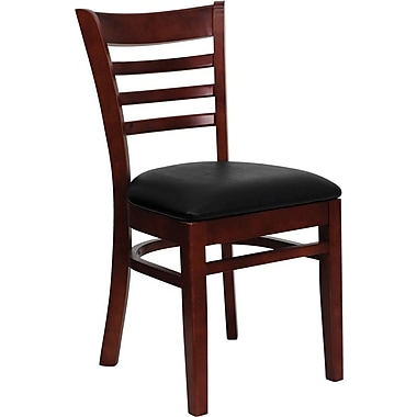 Flash Furniture HERCULES™ Wood Vinyl Ladder Back Restaurant Chair, Mahogany/Black, 2/Pack