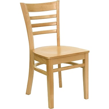 Flash Furniture HERCULES Series Natural Wood Ladder Back Restaurant Chair, 2/Pack