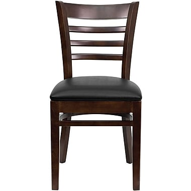 Flash Furniture HERCULES Series Walnut Wood Ladder Back Restaurant Chair, Black Vinyl Seat, 2/Pack