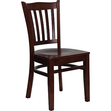 Flash Furniture HERCULES Series Mahogany Wood Vertical Slat Back Restaurant Chair, 2/Pack