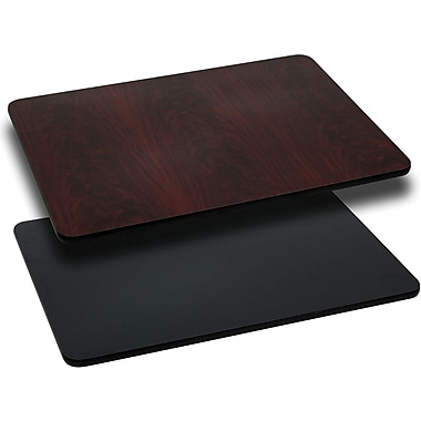 Flash Furniture 24'' x 42'' Rectangular Reversible Laminate Table Top, Black or Mahogany