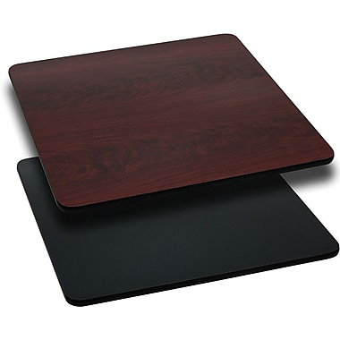 Flash Furniture 30in. Laminate Square Table Top, Black/Mahogany