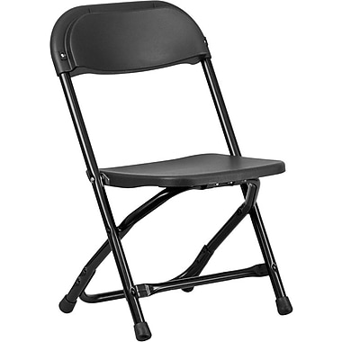 Flash Furniture Kids Plastic Armless Folding Chair, Black, 20/Pack