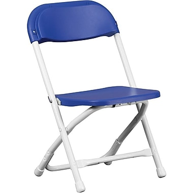 Flash Furniture Kids Plastic Armless Folding Chair, Blue, 40/Pack