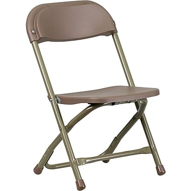 Flash Furniture Kids Plastic Armless Folding Chair, Brown, 10/Pack