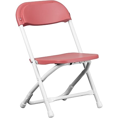 Flash Furniture Kids Plastic Armless Folding Chair, Burgundy, 40/Pack