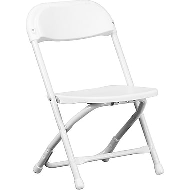 Flash Furniture Kids Plastic Armless Folding Chair, White, 10/Pack