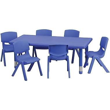 Flash Furniture 24''W x 48''L Adjustable Rectangular Plastic Activity Table Set with 6 School Stack Chairs, Blue