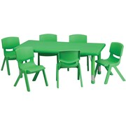 Flash Furniture 24''W x 48''L Adjustable Rectangular Plastic Activity Table Set with 6 School Stack Chairs, Green