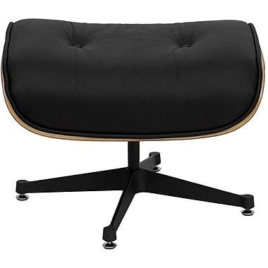 Flash Furniture HERCULES Presideo Series Top Grain Italian Leather Lounge Chair and Ottoman Set with Metal Base, Black