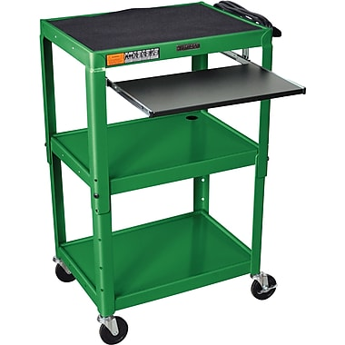 Luxor® Steel Adjustable Height AV Cart W/Pullout Keyboard Tray, Green