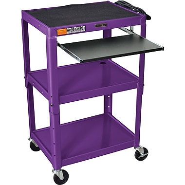 Luxor® Steel Adjustable Height AV Cart W/Pullout Keyboard Tray, Purple