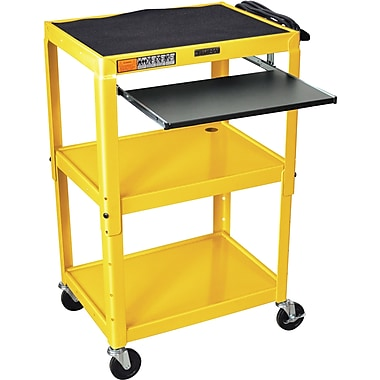 Luxor® Steel Adjustable Height AV Cart W/Pullout Keyboard Tray, Yellow