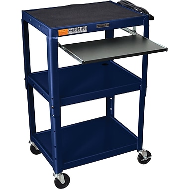 Luxor® Steel Adjustable Height AV Cart W/Pullout Keyboard Tray, Navy