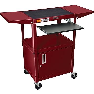 Luxor® Steel Adjustable Height AV Cart W/Pullout, Cabinet, Drop Leaf Shelves, Burgundy