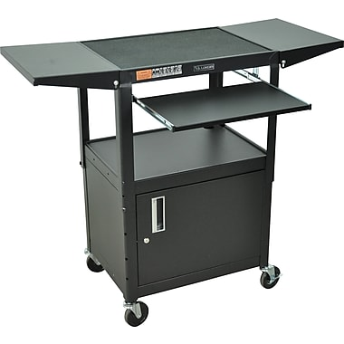 Luxor® Steel Adjustable Height AV Cart W/Pullout, Cabinet, Drop Leaf Shelves, Black